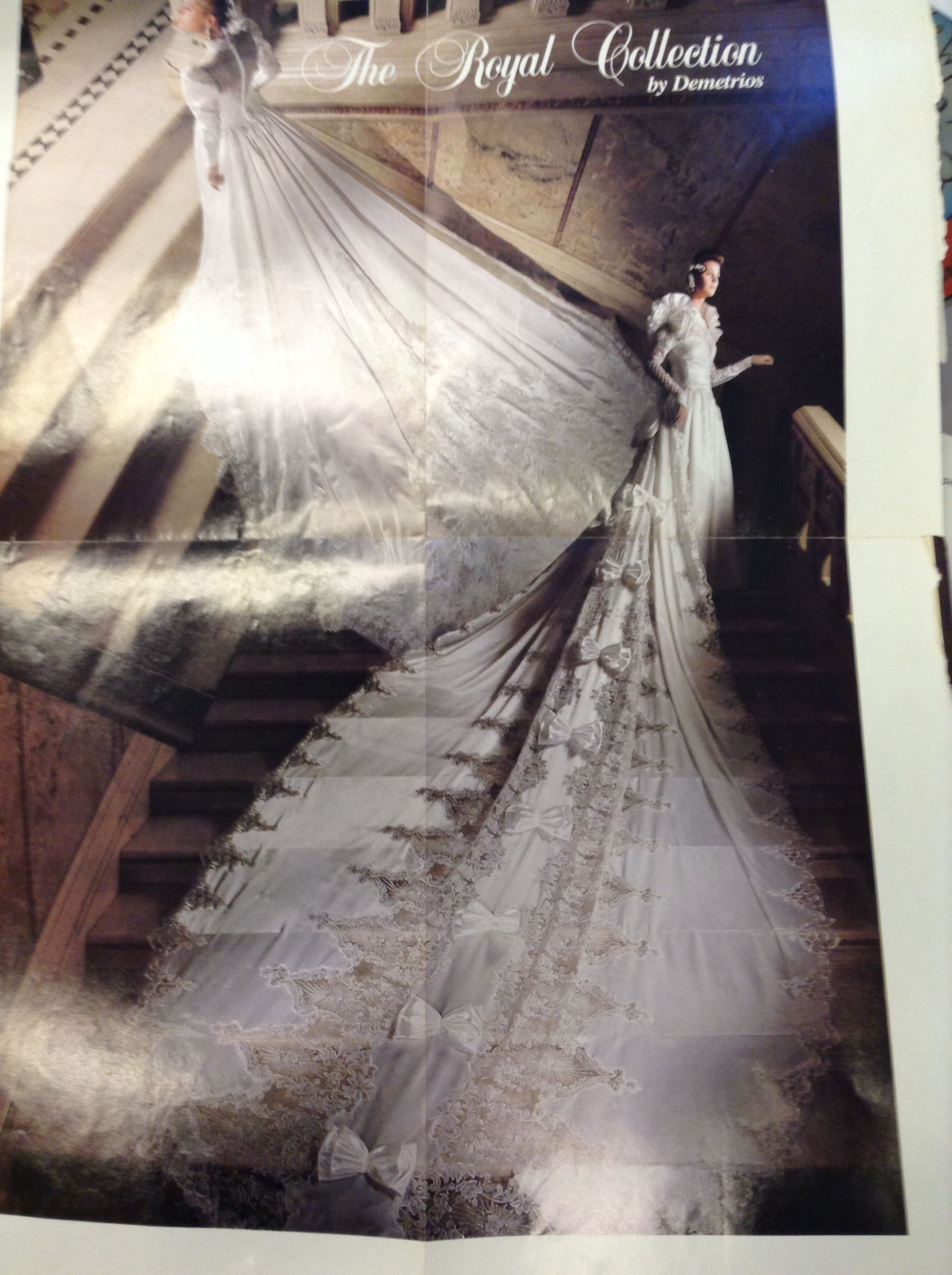 1980's royal train! Wedding dress with veil