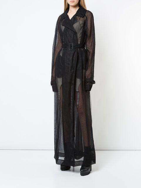 556c901d9b54 Shop Vera Wang sheer maxi trench coat | Luxury Outerwear in 2019 ...