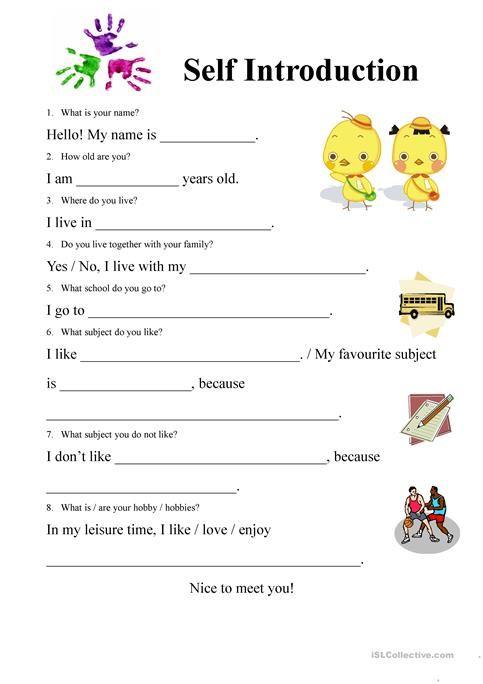 Znalezione Obrazy Dla Zapytania Self Introduction Tata Bahasa Inggris Kosakata Pendidikan Self introduction worksheet for kindergarten