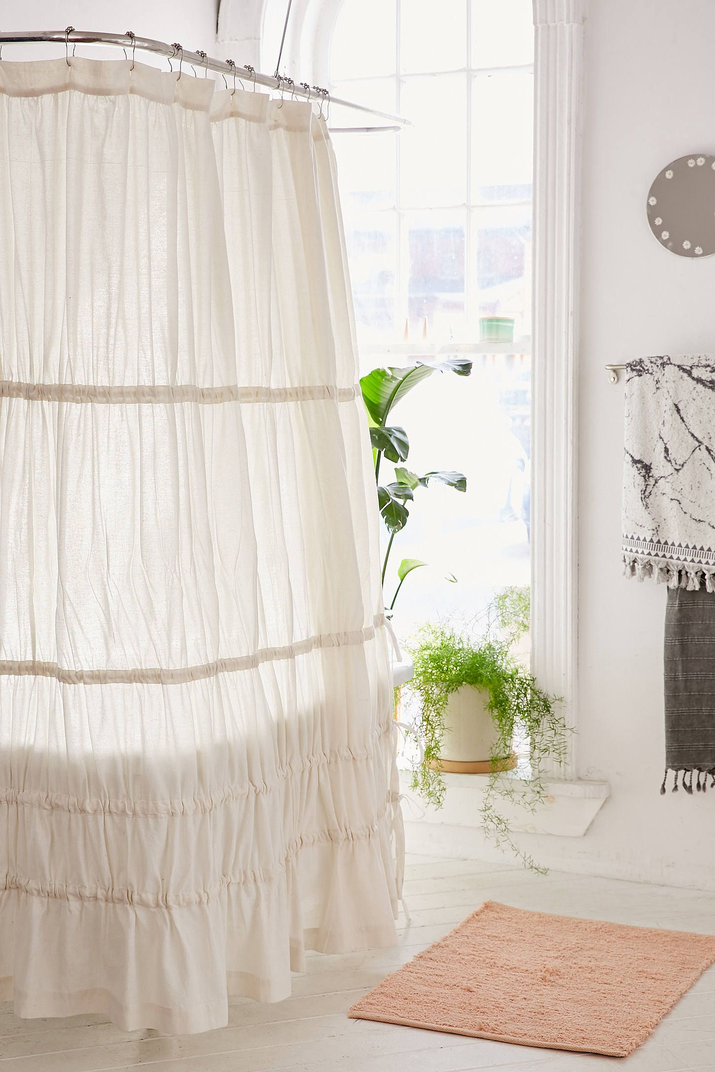 Romantic shower curtain - Slide View 1 Rayna Tiered Ruffle Tie Side Shower Curtain Romantic