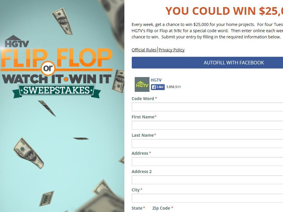Flip or Flop's Watch and Win Sweepstakes