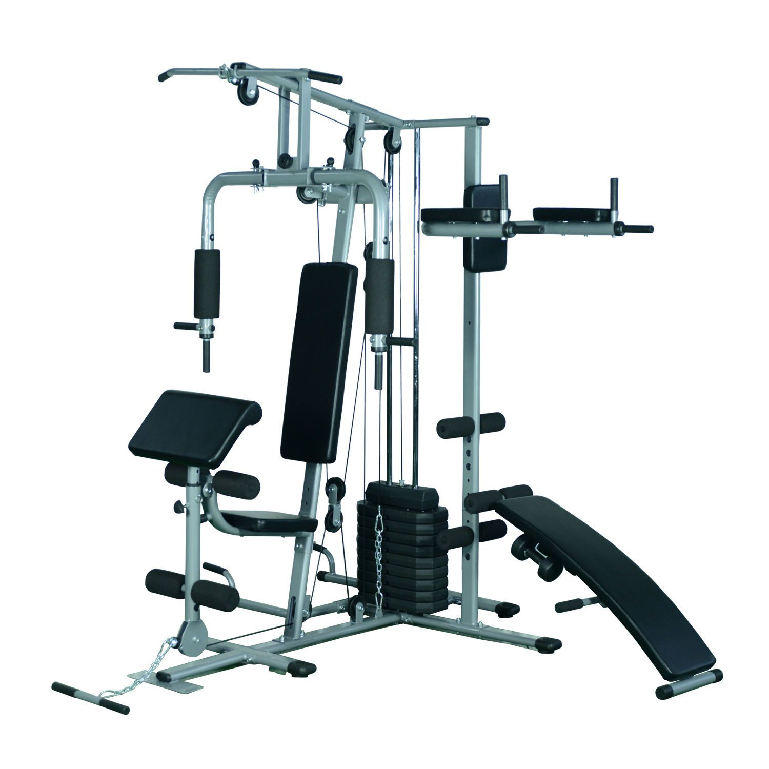 soozier deluxe home gym fitness exercise machine weight. Black Bedroom Furniture Sets. Home Design Ideas