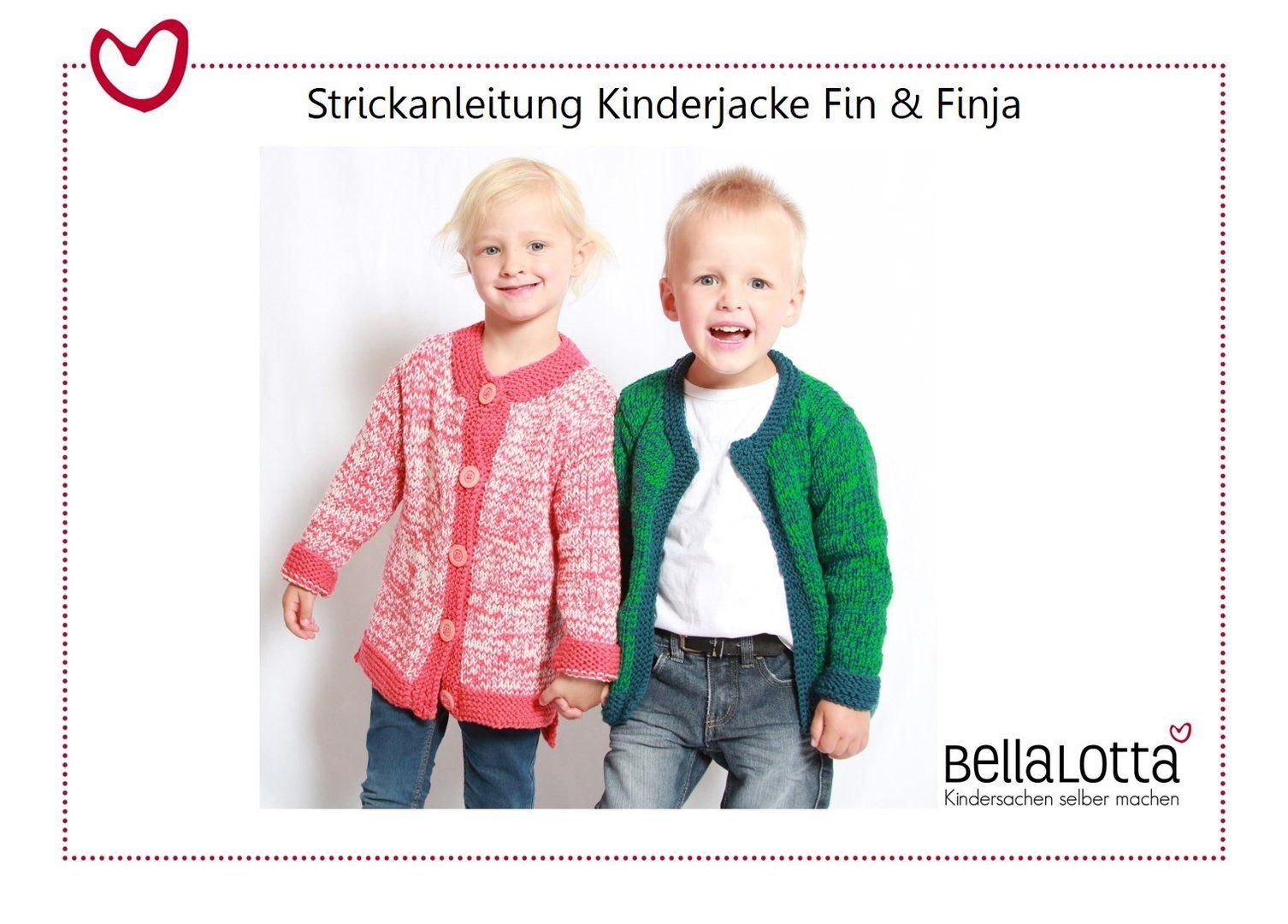 Strickanleitung Kinderjacke Fin und Finja, Gr.98-128, für Anfänger ...