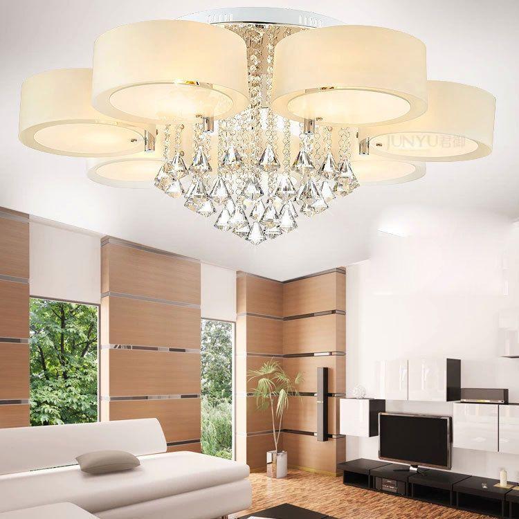 Details About Modern 60 70 90cm LED Crystal Chandeliers Ceiling Lights Living Room Light 1288H
