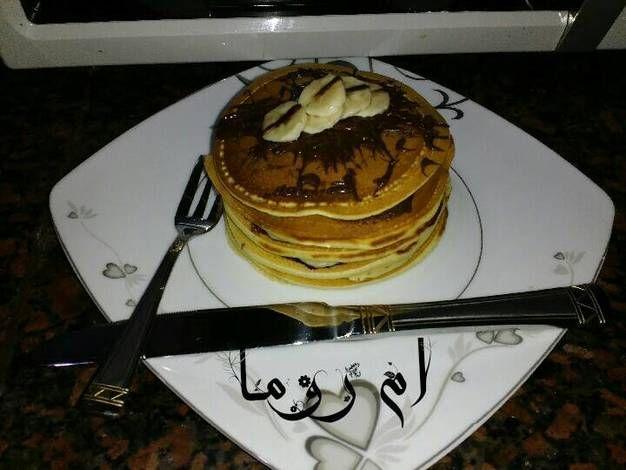 بان كيك الموز والشوكولاتة Pan Cake بالصور من سندس من كوكباد Recipe Food Sweet Cake