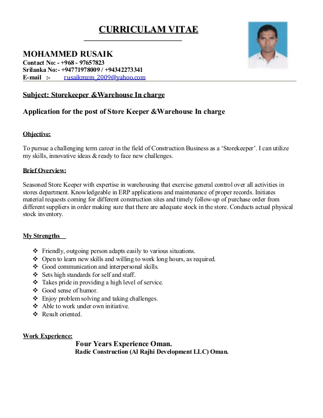 Cv For Store Keeper Letter Example Resume Resume Objective
