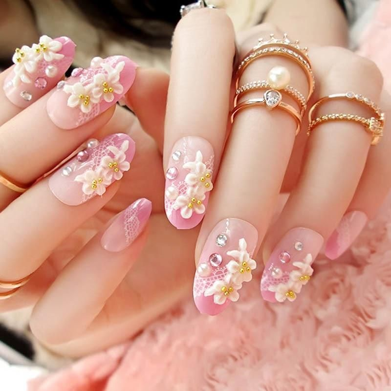 3D Carved Flowers With Rhinestones Nail Tips in 2019   painted ...