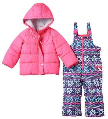 f3f136f70 Carter s Infant Girls 2 Pc Snow Bibs   Winter Coat Set Nordic Print ...
