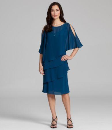 J.R. Nites Bead-Detail Tiered Capelet Dress | Dillards.com @Julie Chitwood
