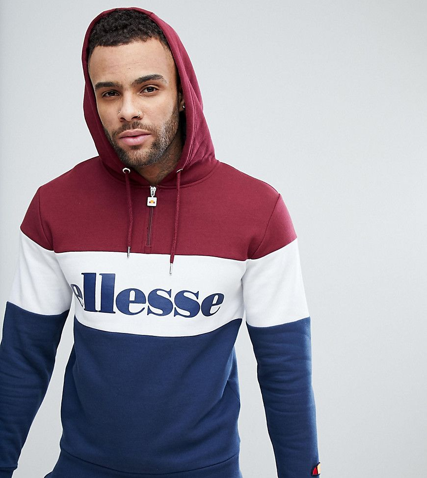 With Red Ellesse 14 Zip Logo Hoodie In Large And qxtp6vtn0