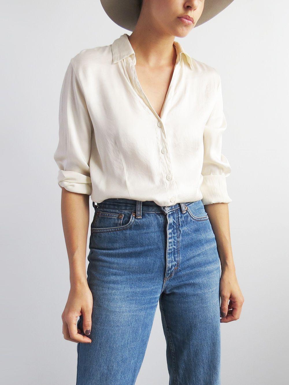 f3d91f223931 Silk Summer Blouse    Vintage 1990 s Silk Shirt SOLD