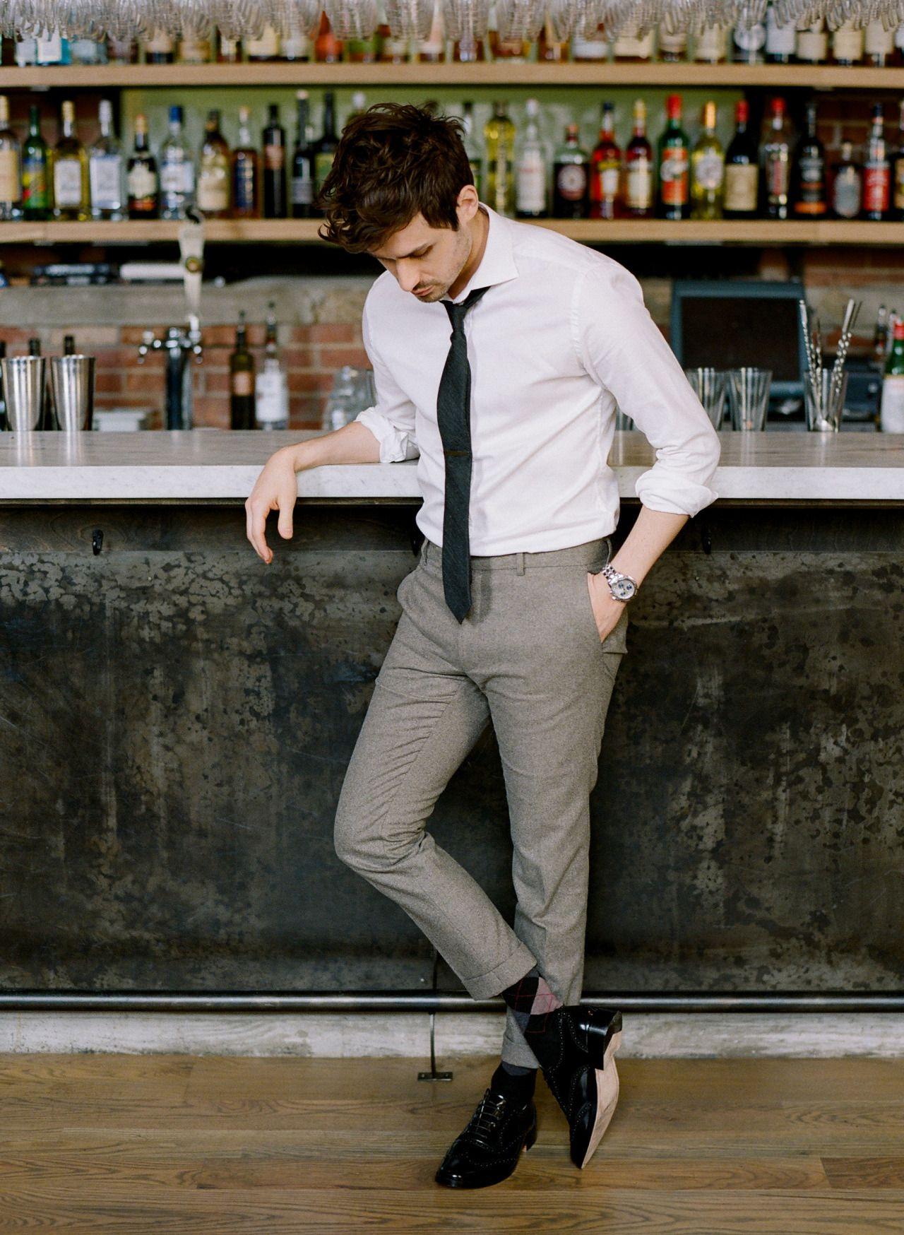 Men S White Dress Shirt Grey Wool Dress Pants Black Leather Brogues Black Tie Formal Mens Fashion Mens Outfits Mens Fashion Classy [ 1748 x 1280 Pixel ]