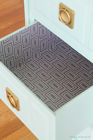 Add A Layer Of Color And Protection To Any Drawers Diy Nightstand Makeover Contact Paper Drawer Liner