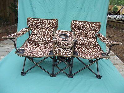Giraffe Print Childs Folding Double Chair Stadium Lounge Chair