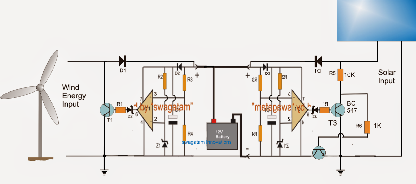 Two Input Solar Wind Hybrid Battery Charger Circuit Proyek Untuk Panel Wiring Diagram On 12 Volt Motion Light