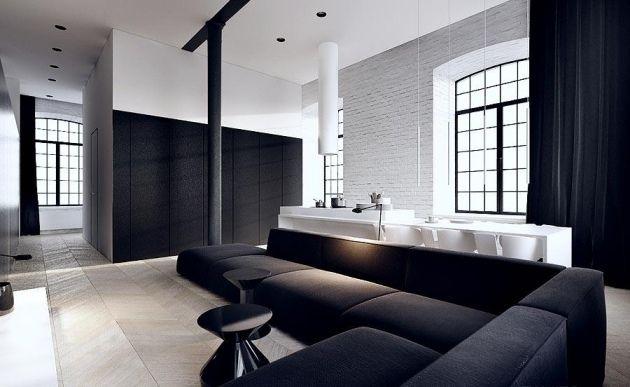 Ideen Wandfarbe Weiß Grau Ziegelmauer Sofa Set Sitzgarnitur