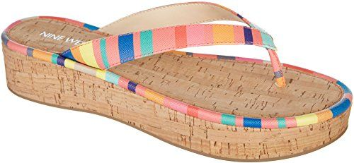 e390cf902 Nine West Womens Goldfish Stripes Thong Sandals 10 Coral pink multi --  Check out the