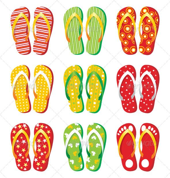 d9158040cf56d7 Flip Flops  GraphicRiver 9 colorful flip-flop icons. Eps 10 and Ai CS 3  included. Created  30June13 GraphicsFilesIncluded  VectorEPS  AIIllustrator  Layered  ...