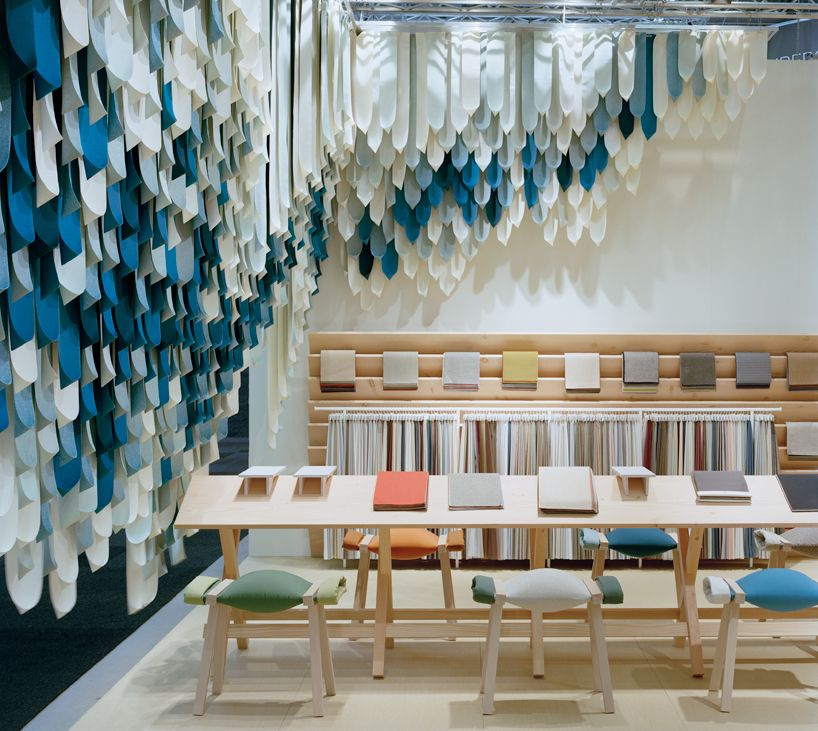 Fabric Exhibition Stand Goal : Kvadrat fabric installation by london based yael mer