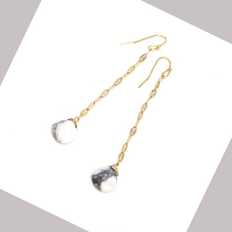 Natural stone earrings   Howlite earrings   Stud dangling stones   layering   natural stones