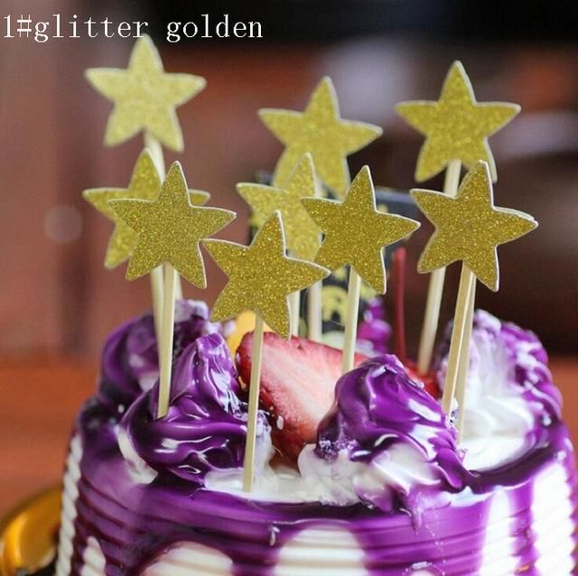 Cake toppers glitter star paper cards_132 | Glitter stars and Products