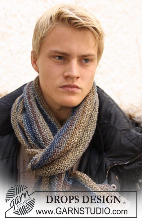 "DROPS scarf in garter st in ""Delight"". ~ DROPS Design   Men ..."