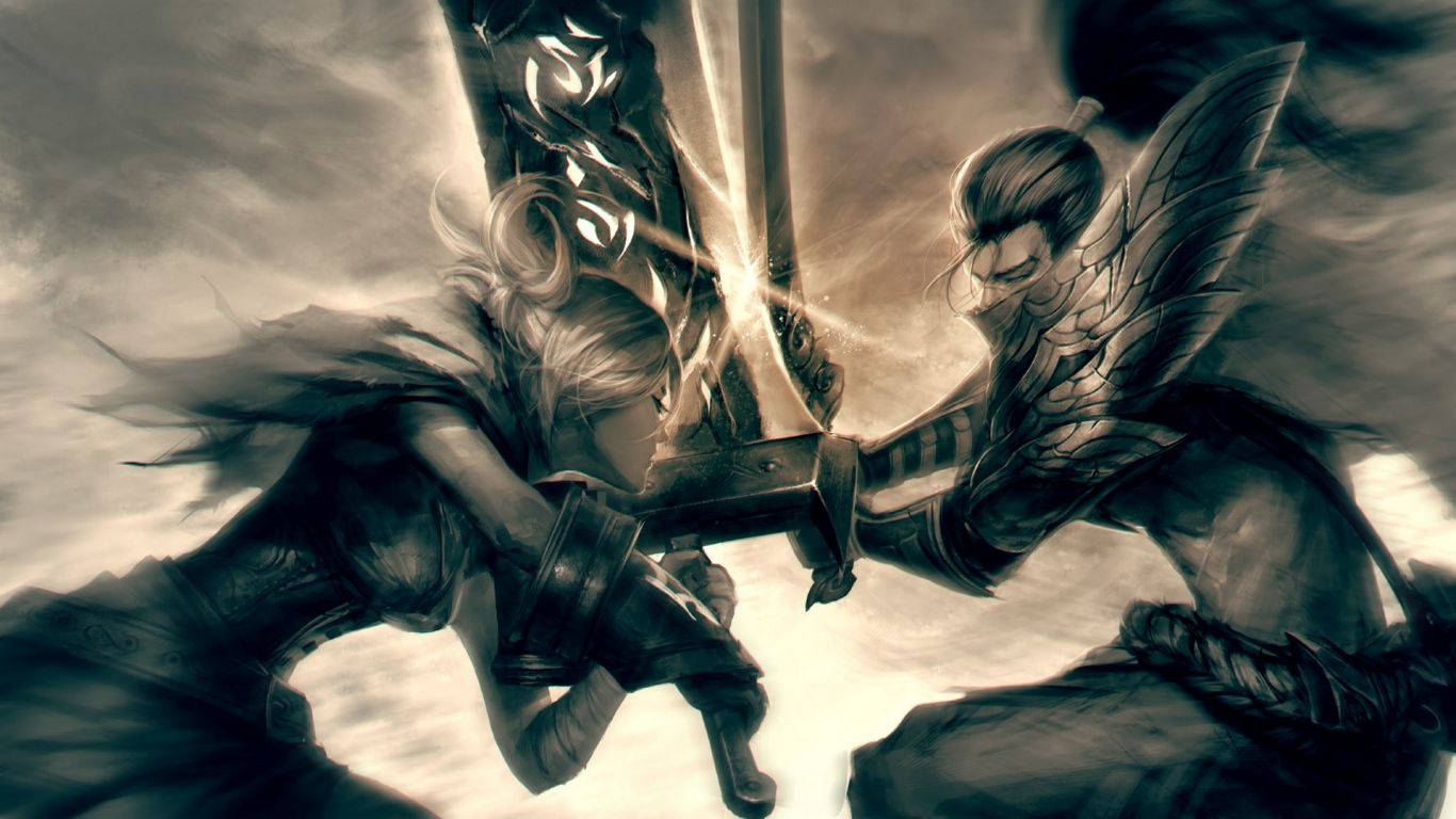 1366x768 Wallpaper League Of Legends Yasuo Riven The