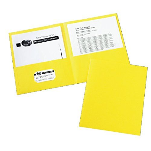 Avery two pocket folder yellow box of 25 47992 economical way avery two pocket folder yellow box of 25 two interior pockets provide storage space for papers brochures and more includes 25 two pocket folders colourmoves