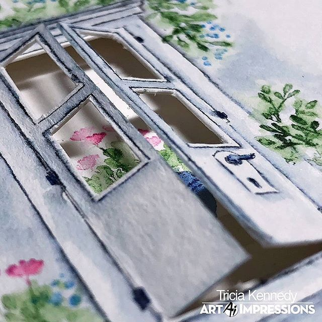 STUNNING! Tricia Kennedy (@triciadollkennedy) created a garden door by cutting a WC Door open with window panes, and added a beautiful blooming pot on the inside of her card. Find all the details on our latest #WatercolorWeekend post! . #AiStamps #AiWatercolor #RubberStamping #HandmadeCard #Cardmaker #DoorCard #GardenCard #FloralCard #FlowerCard #MarvyUchida #Canson