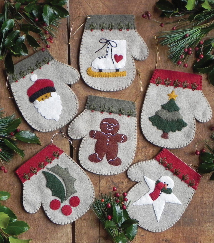 Mittens Felt Applique Christmas Ornaments Kit Rachel/'s of Greenfield K0508 New