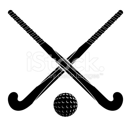 Two Black Silhouettes Sticks For Field Hockey And Ball On A White