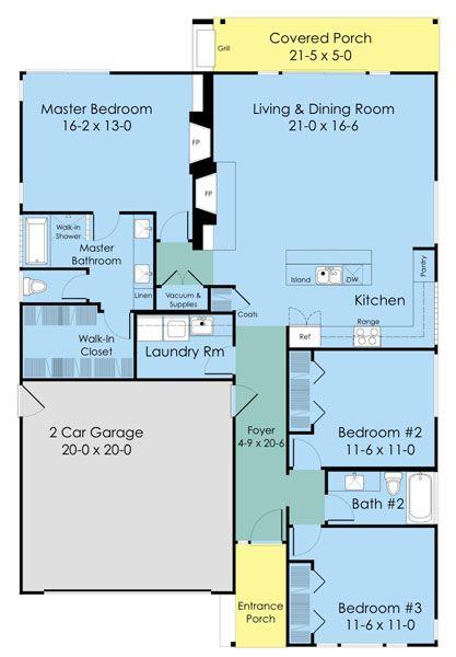 Plano de casa de tres dormitorios y 152 metros cuadrados for Dormitorio 9 metros cuadrados