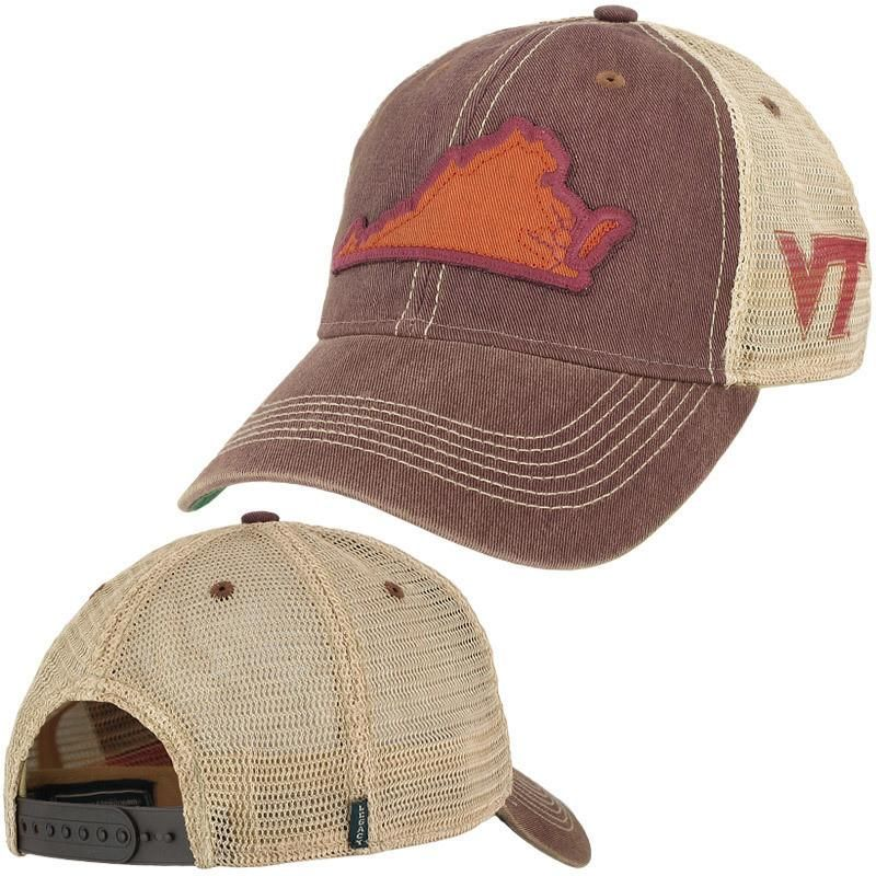 Virginia Tech State Trucker Hat Maroon by Legacy