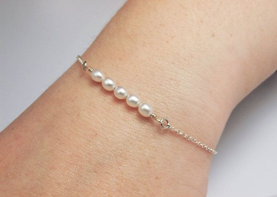 Pearl Bar Bracelet Chain Sterling Silver For Her by LiuRokSilver, $20.00