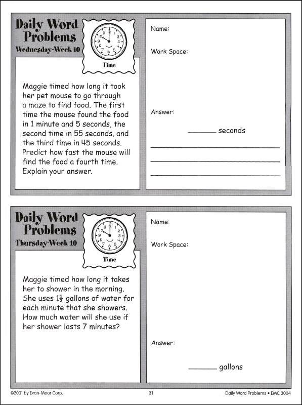 daily word problems 1st grade   Daily Word Problems Grade 4 ...