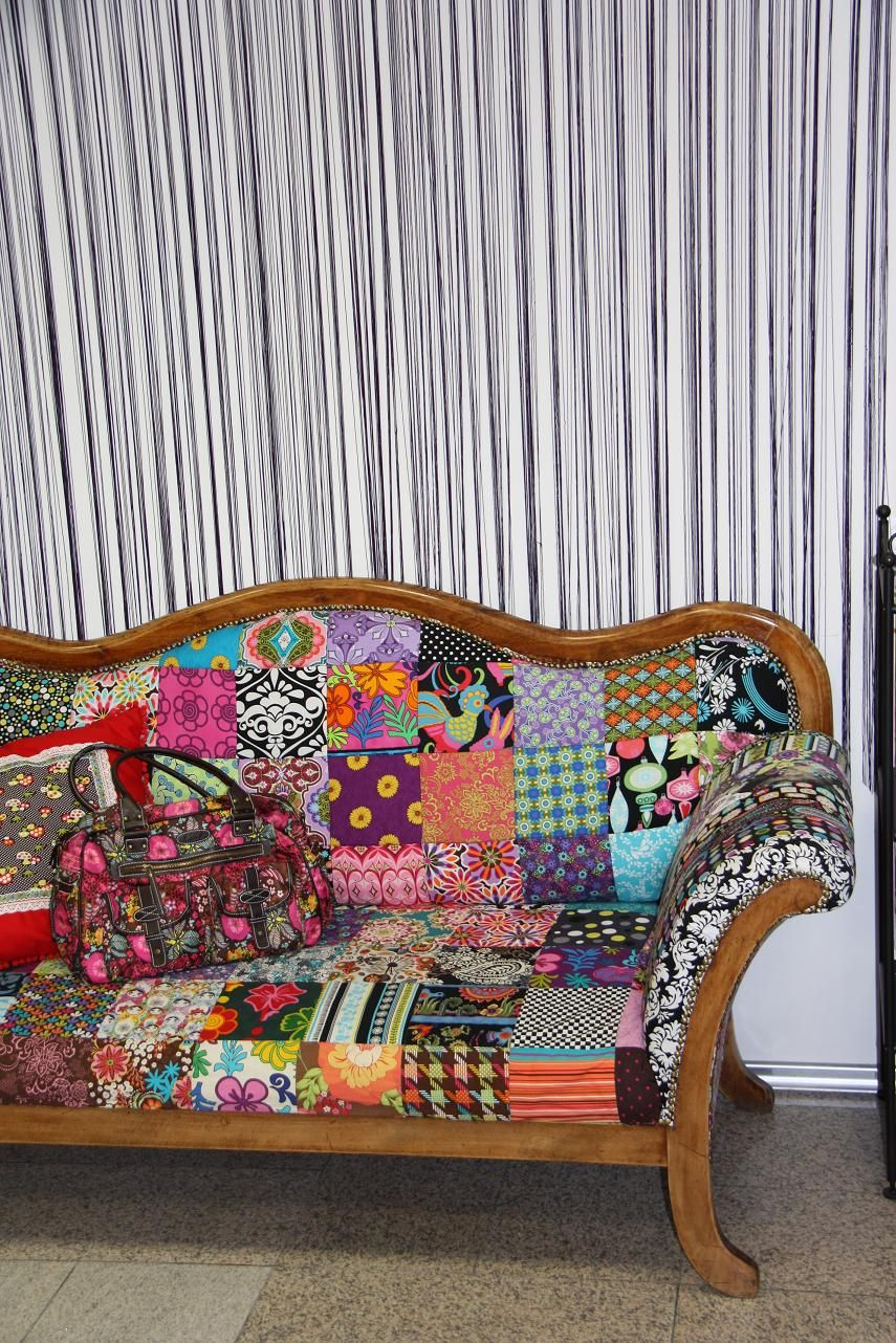 Our very comfortable couch with a patchwork upholstering.