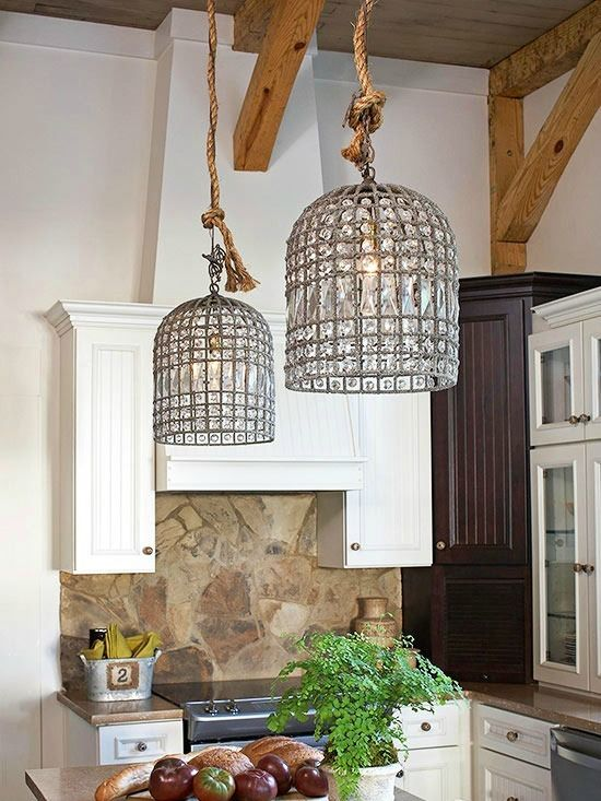 Crystal Pendant Lighting In A Rustic Kitchen Kitchen