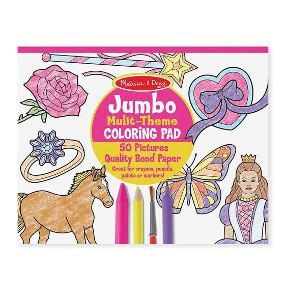 Jumbo 50Page Kids' Coloring Pad Horses, Hearts, Flowers
