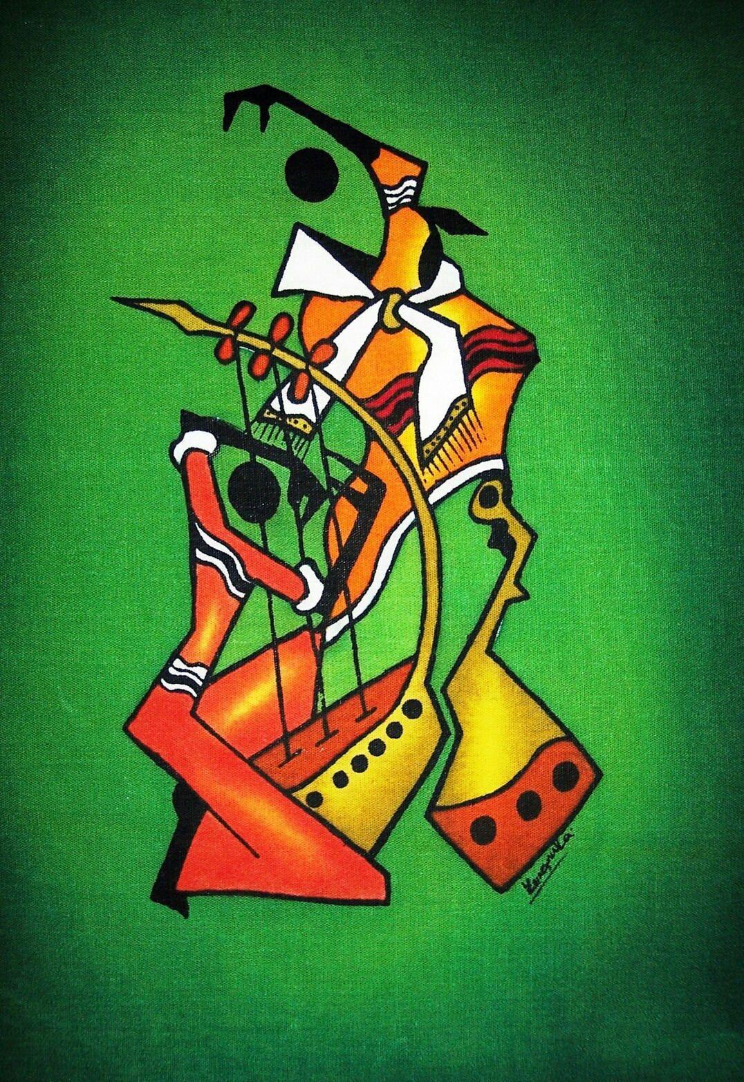 Masai Musician Dancers Green Wax Batik African Art Kenya Home