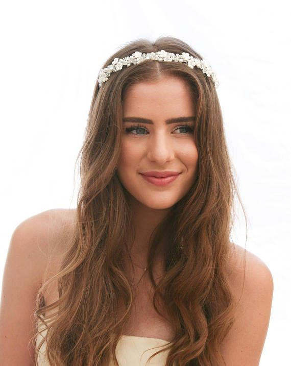 Vintage Floral bridal Headband Wedding Tiara of Small Flowers and Crystals Beaded Headband, Simple Wedding Headband with Metal Flowers This is a delicate vintage headband. Its is from new stock and has never been worn, it has been stored in a temprature controlled warehouse just
