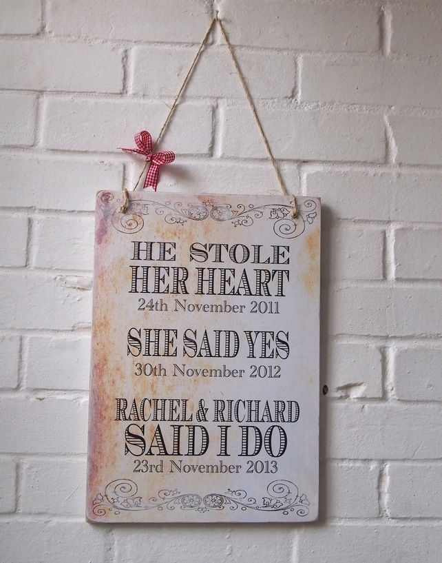 He Stole Her Heart Wedding Plaque Large Personalised A3 Sign 19 99