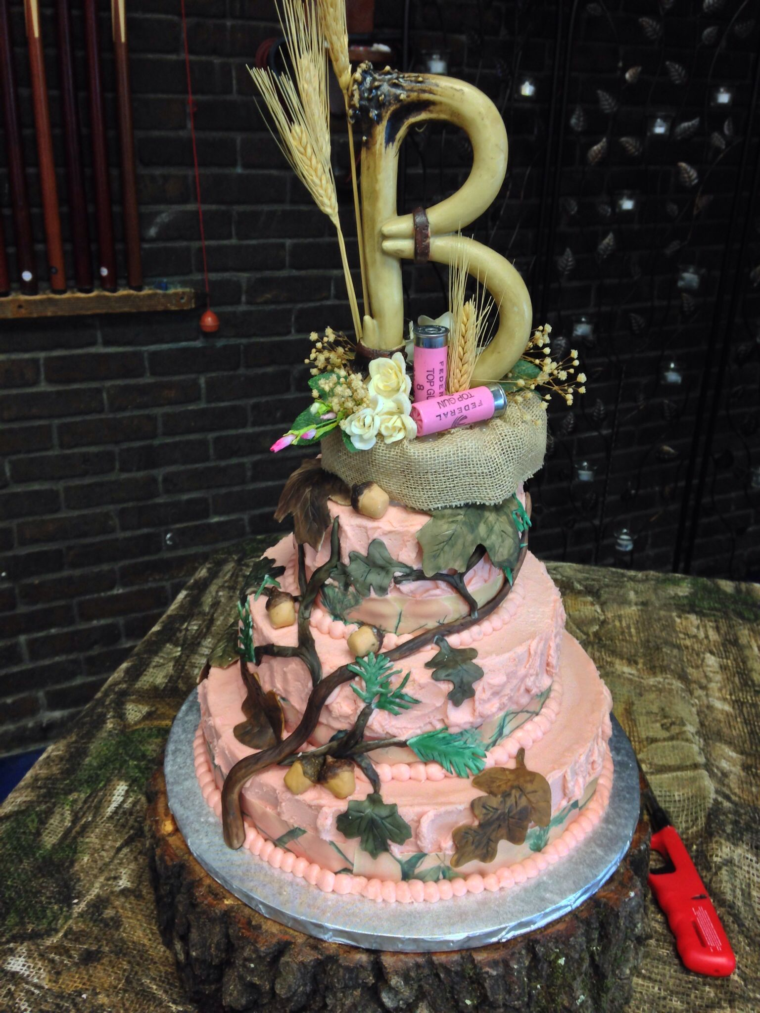 "Pink ""real tree"" camo wedding cake! Pink wedding cake"