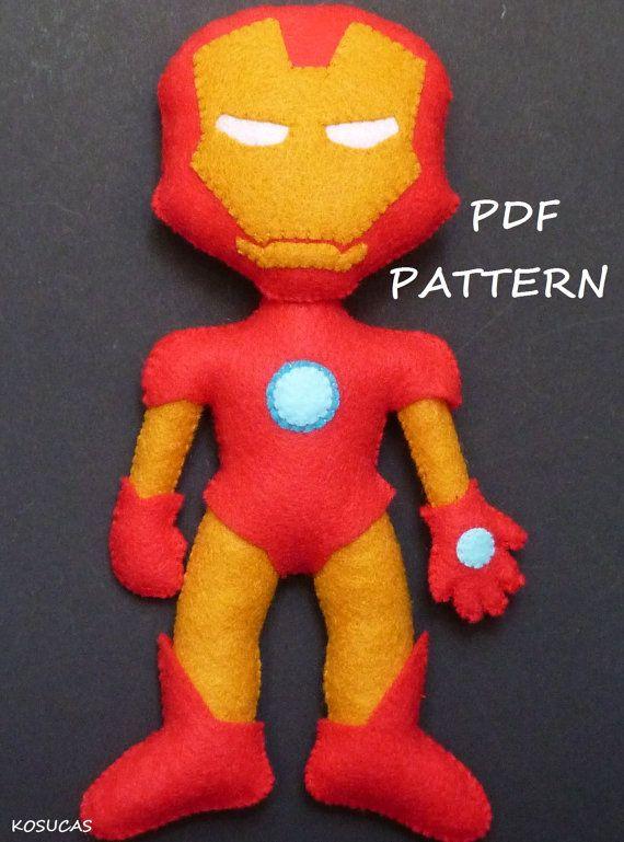 PDF patter to make a felt Iron Man | nähen | Pinterest | Nähen ...