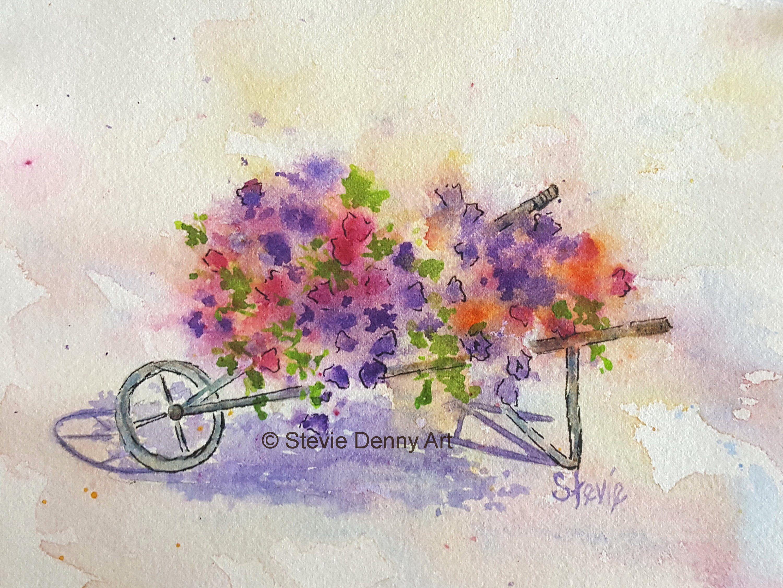 Watercolor Flower Cart Watercolor Flowers Flower Cart Painting