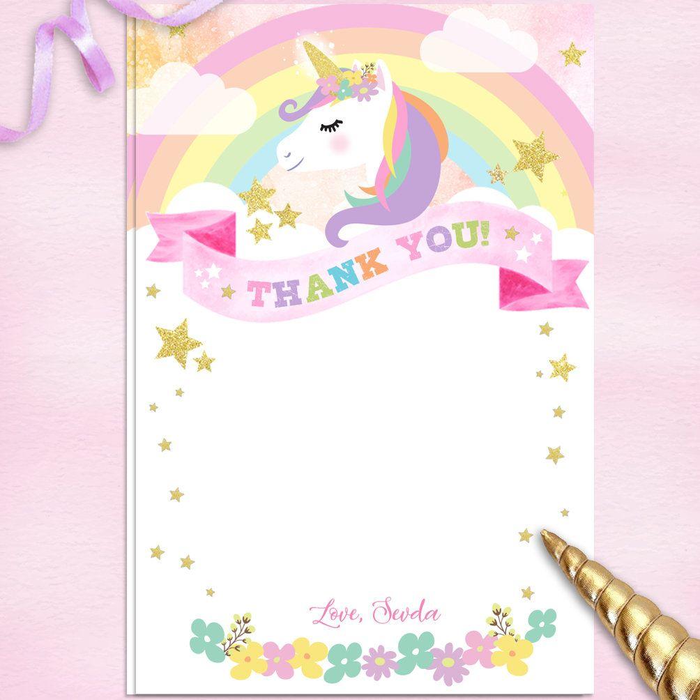 Unicorn Thank You Cards Unicorn Birthday Party Unicorn Party
