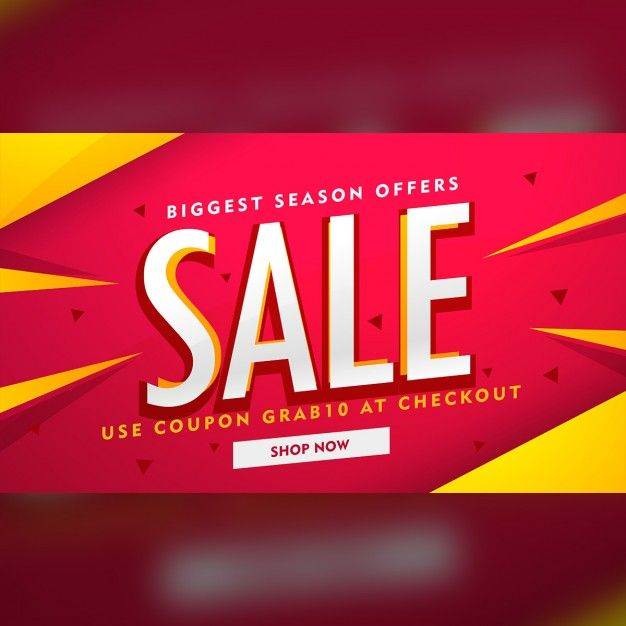 Red discount voucher with yellow geometric shapes Free Vector - free discount vouchers