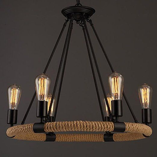 Licht Industrial Wind Retro Öl Reibung Eisen Und Hanf Seil Kronleuchter  Kronleuchter   6 Lichter Deckenleuchte