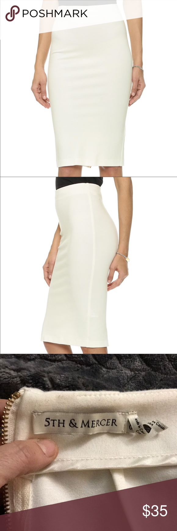 5248f897d8 5th & Mercer skirt White with gold zipper down the back 5th & Mercer skirt.  Small spot (bottom picture)I'm sure a dry cleaner could get rid of.