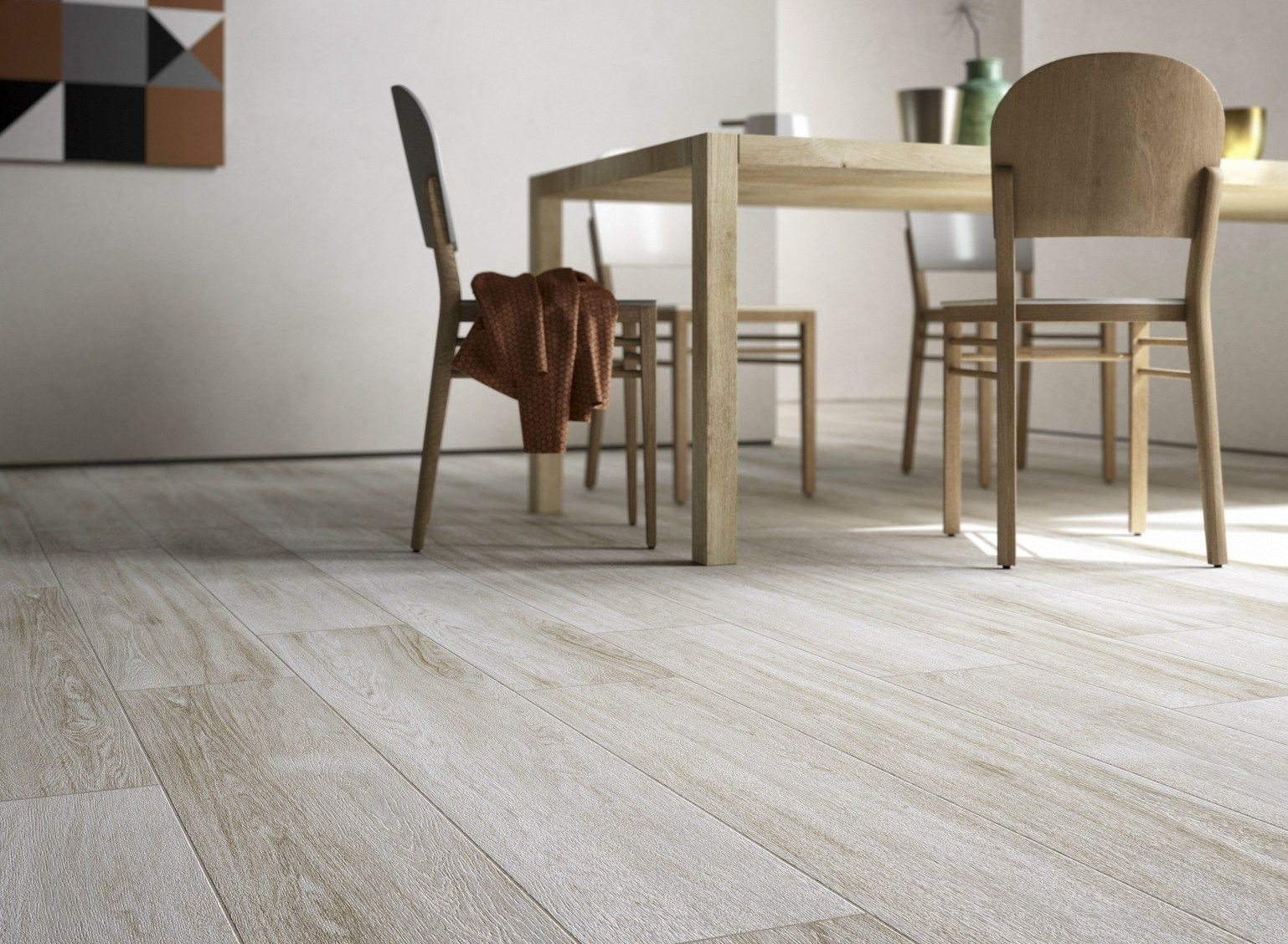 Dining area decor idea with Q-Style floor tile from Cooperativa Ceramica  d'Imola.