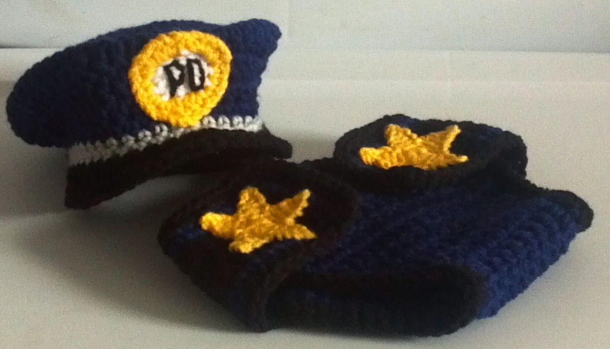 Policeman hat and diaper cover crochet Pattern, Bonus Handcuffs ...